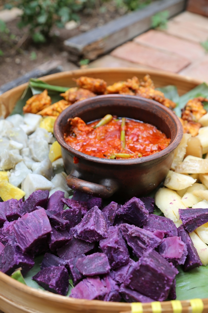Steamed varieties of cassava and corn fritters with a killer sambal