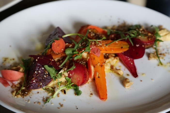 Roasted Baby Vegetables with Pickled Raddish, Homemade Hummus and Dukkah by CKFoodLab
